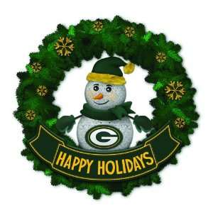 Packers Lighted Snowman Artificial Christmas Wreath