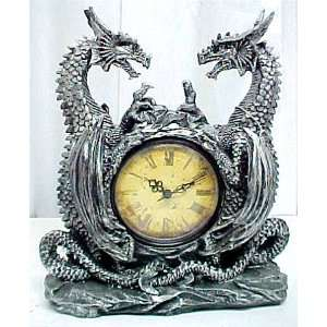 : Twin Evil Dragons Antiqued Mantel Clock Table Desk: Home & Kitchen
