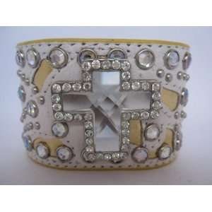 Leather Big Crystal Cross Studded Bracelet/Cuffs Case Pack
