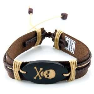 Leather Bracelet with Skull & Cross Bone Jewelry
