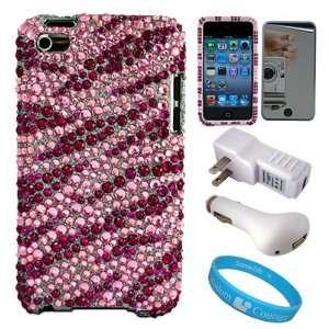 Piece Pink Zebra Rhinestone Design Hardshell Protective Crystal