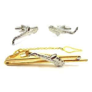 Gold Saxophone Cufflink and Tie Bar Set Jewelry