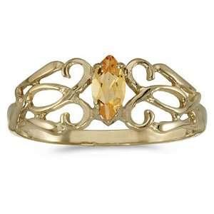 Gold 6 x 3 MM Marquise Cut Citrine Filigree Ring Katarina Jewelry