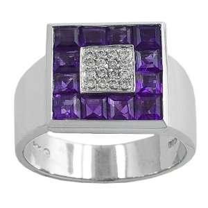 Amethyst & 0.10 Ct Diamond 14 Karat White Gold Ring Size 7 Jewelry