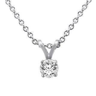 14K White Gold Round Solitaire Diamond Pendant (1/4 ctw, G H / SI1 I2)
