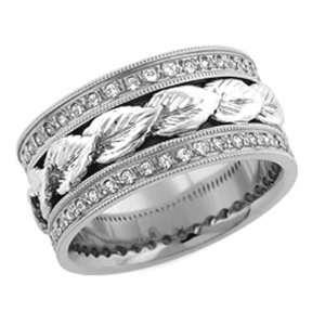 10.00 Millimeters White Gold Diamond Wedding Band Ring