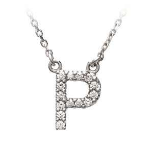 Diamond Initial Necklace in 14 Karat White Gold, Letter P Jewelry