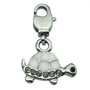 Beggar Charms pendant Turtle silver/white dangle #9421, bracelet Charm