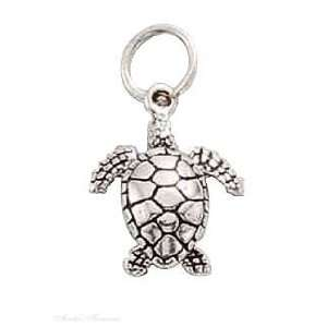 Sterling Silver 3D Small Ocean Sea Turtle Charm Jewelry