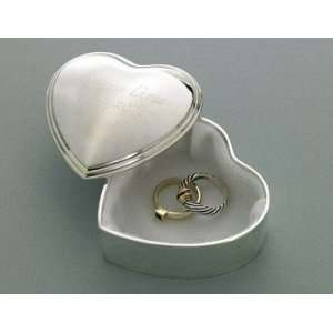 Engraved Silver Plated Heart Trinket Box Home & Kitchen