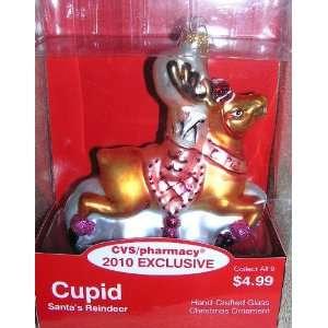 2010 Exclusive Santa Claus Reindeer CUPID Glass Christmas Ornament