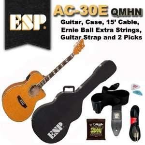 ESP Acoustic Electric Guitar AC 30E QMHN, Case, Cable