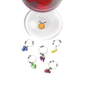 True Fabrications Fruit Basket Wine Glass Charms Kitchen