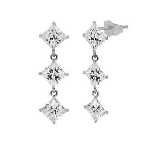 Gold, Three Princess Cut Stone Dangling Drop Earring Lab Created Gems