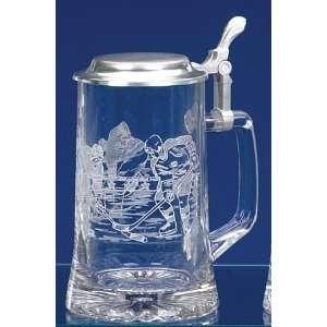 Hockey Etched German Glass Beer Stein Kitchen & Dining