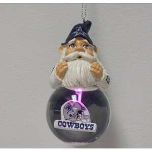 Dallas Cowboys Light Up Snow Globe Gnome Ornament  Sports
