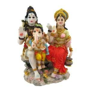 Painted Hindu God Family Statue Ganesh Shiva Parvati: Home & Kitchen