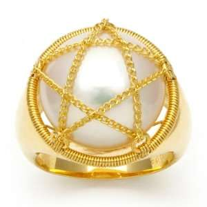 Gold Plated Sterling Silver and White Freshwater Coin Pearl Ring with