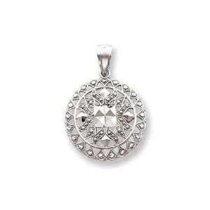 14k White Gold Diamond Cut Fancy Pendant   Measures 32