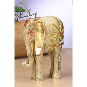 Gold Elephant W/Palm Trees Statue Figurine