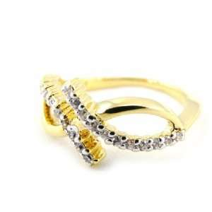 Gold plated ring Sensations white golden.   Taille 54