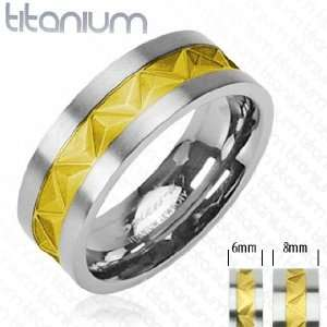 Solid Titanium with Mayan Inspired Gold Plated Inlayed Ring