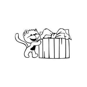Kitty Gift Box   Cartoon Decal Vinyl Car Wall Laptop