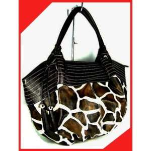 Giraffe animal print black trim hobo bag purse handbag