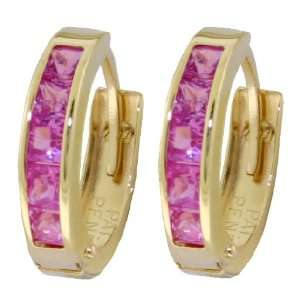 14k Solid Gold Pink Topaz Huggie Earrings Jewelry
