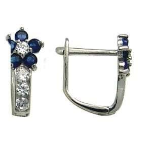 Blue   Flowering CZ Star 14k White Gold Huggie Earrings Jewelry
