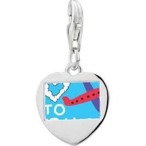 Silver Love To Travel Photo Heart Frame Charm Pugster Jewelry