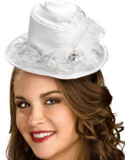 White Mini Satin Hat with Silver Veil Halloween Costume Clothing