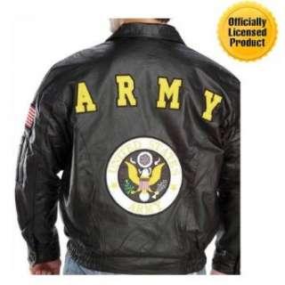 Licensed U.S. Army Patriotic Leather Bomber Jacket Clothing