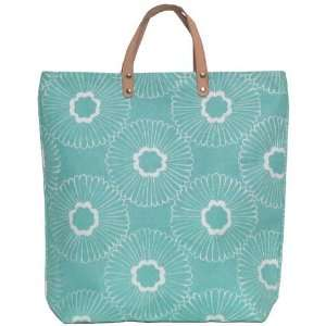 White Flowers Tote Bag with Leather Handles 17Lx17H