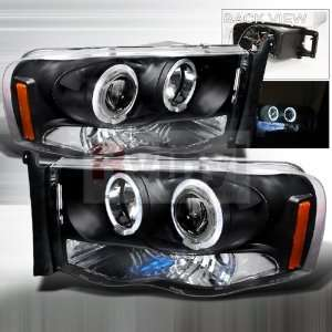 Ram 2002 2003 2004 LED Halo Projector Headlights   Black Automotive
