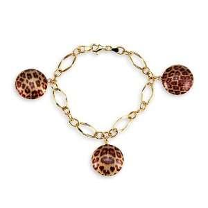 14k Hollow Gold Cheetah Leopard Round Charm Bracelet Jewelry