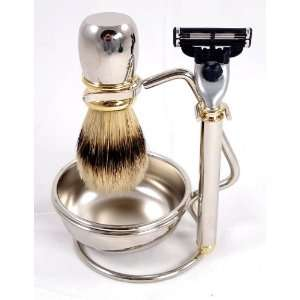 Four Piece Shaving Gift Set with Mach 3 Razor Handle and Razor, Bowl