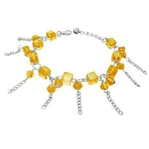 Shop  Fashion Crystal Glass Beads Ball Cube Bell Charm Bracelet/Anklet