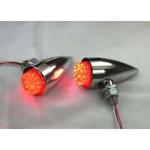 Red LED Motorcycle Tail Lights in Chrome Teardrop Housings