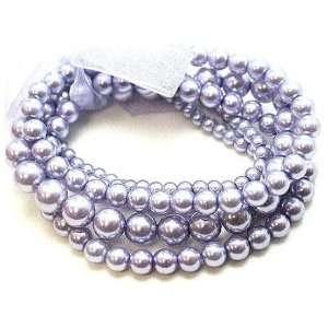 Multistrand Lavender Glass Bead Stretch Bracelet Jewelry