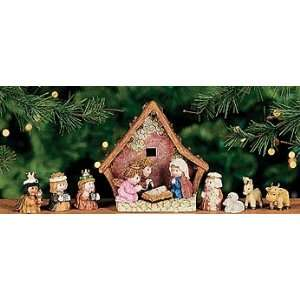 8pcs Stable with Holy Family Nativity Set 5 Resin