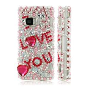NEW PINK I LOVE YOU 3D CRYSTAL BLING CASE FOR NOKIA X6 Electronics