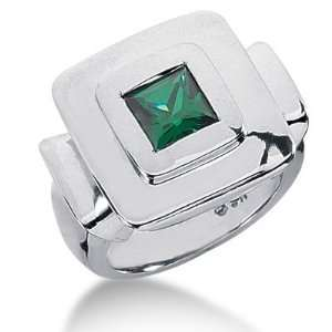 Emerald Ring Engagement Princess cut 14k White Gold DALES Jewelry