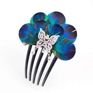 Crystalmood Handmade Peacock Feather and Rhinestone Butterfly French