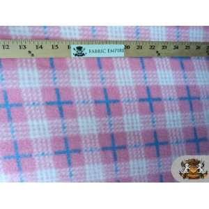 Fleece Printed Tartan Light Pink   Blue Fabric By the Yard