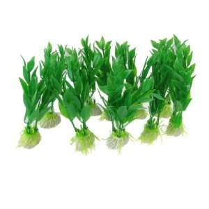 Como Ceramic Base Fish Tank Green Plastic Plants Ornament