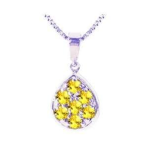 14K White Gold Precious Droplet Gemstone Pendant Yellow