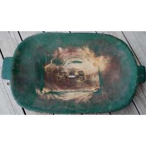 Primitive Early Green Dough Bowl trencher Kitchen