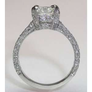 2.26 carats princess cut pave diamond ring white gold new