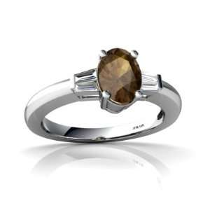 White Gold Oval Genuine Smoky Quartz Engagement Ring Size 5 Jewelry